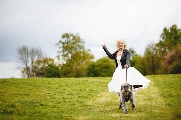 Bride walking dog