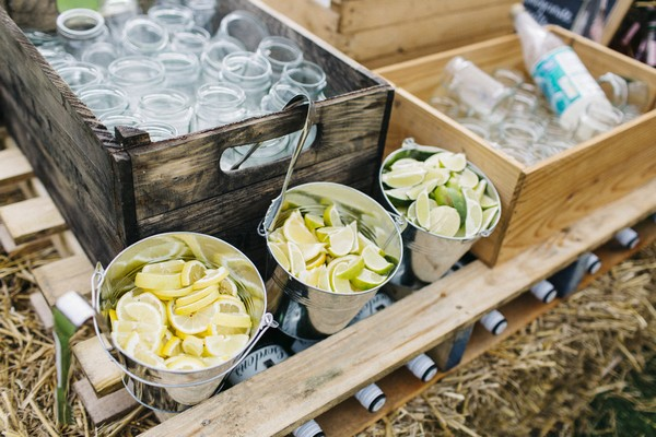 Buckets of slices lemons for wedding drinks
