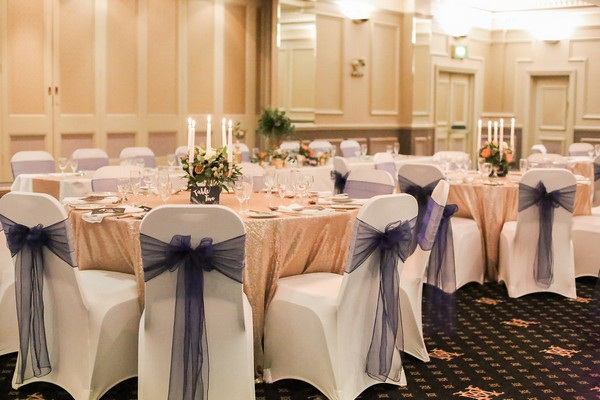 Wedding tables in dining room at The Duke of Cornwall Hotel