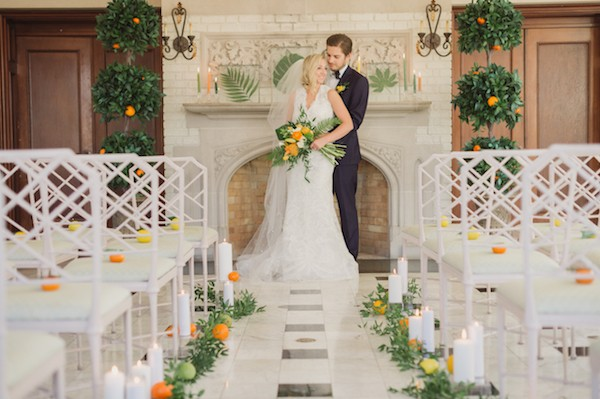 Bride and groom in ceremony room at Laurel Hall