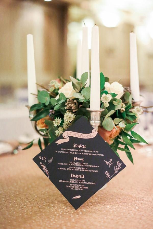 Dark blue wedding menu