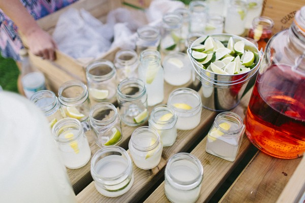 Jars of wedding drinks