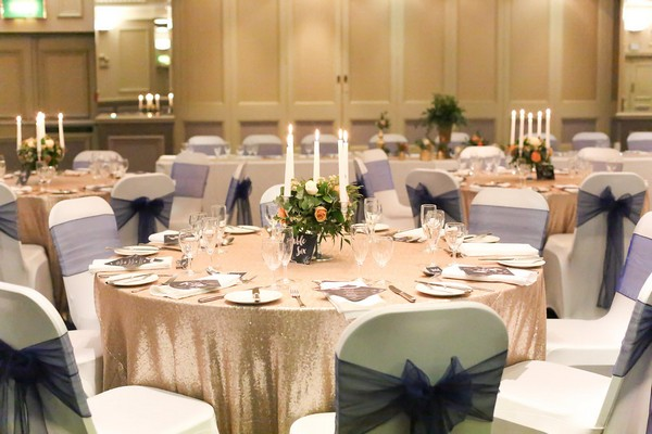 Wedding table with sequin tablecloth