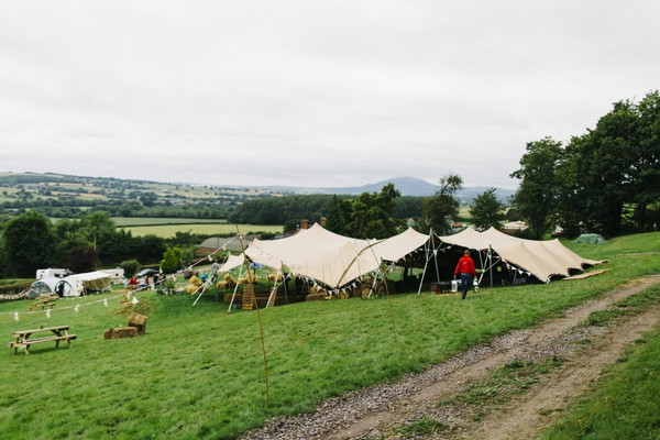 Stretch tent at Lower Hill Farm for festival wedding