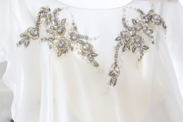 Crystal detail on wedding dress