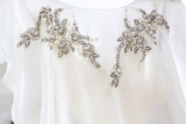 Crystal detail on wedding dress