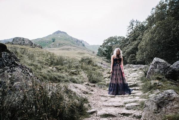 Bride walking in Lake District