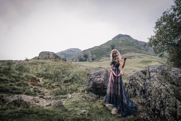 Bride in mountains of Lake District