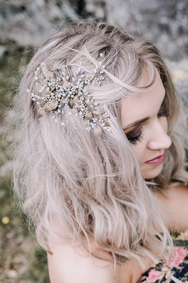 Bride wearing bridal hairpiece