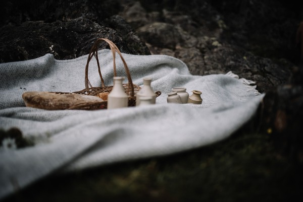 Blanket with wedding picnic