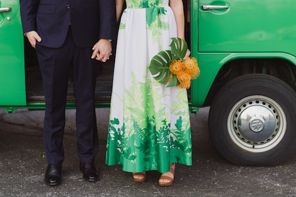 Wedding dress with green fern design