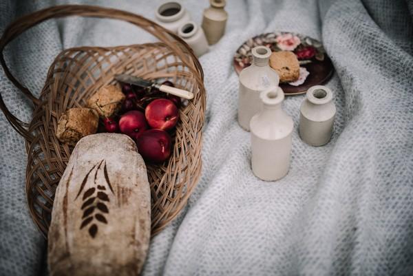 Picnic basket and bottles