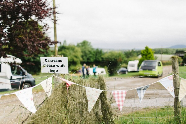 Bunting at car park of festival wedding