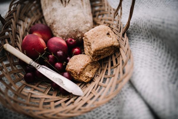 Basket of break and fruit