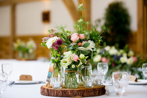 Country style wedding table centrepiece