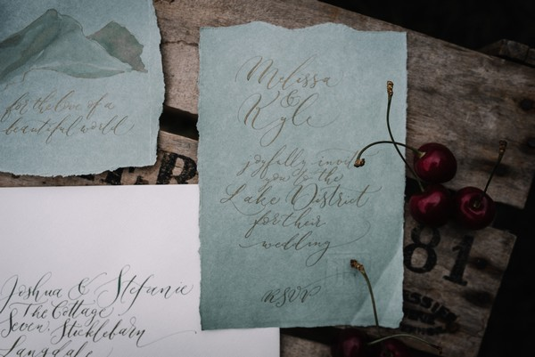 Wedding RSVP with calligraphy writing