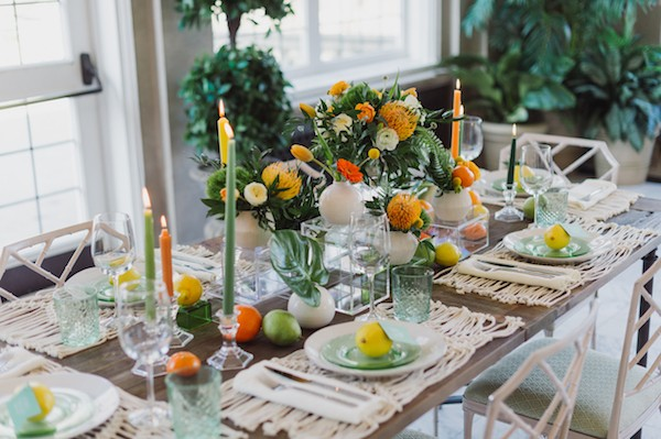 Table with citrus wedding styling