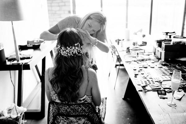 Back of bride's head showing headpiece