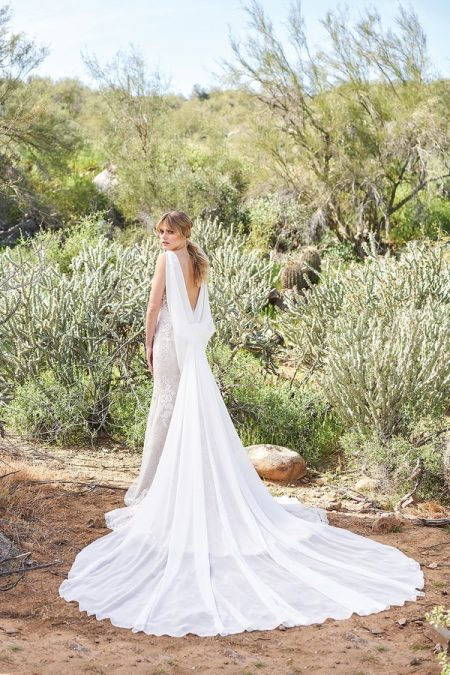 Back of 6505 Wedding Dress with Train from the Lillian West Spring/Summer 2018 Bridal Collection