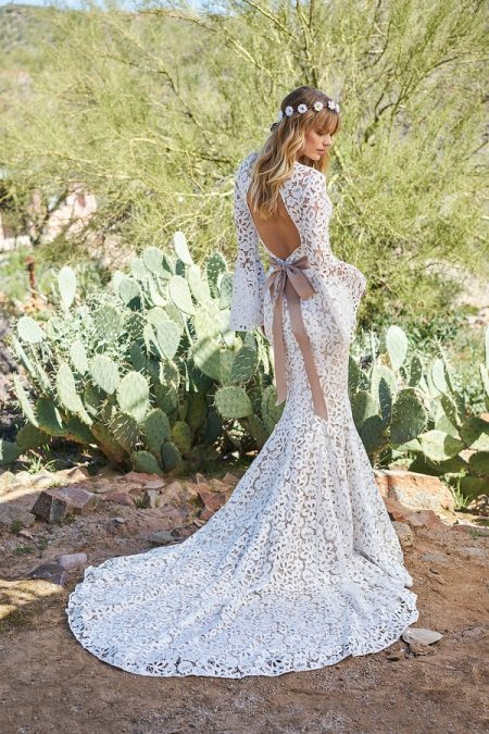 Back of 6509 Wedding Dress with Belt from the Lillian West Spring/Summer 2018 Bridal Collection