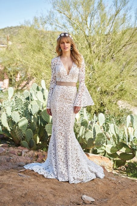 6509 Wedding Dress with Belt from the Lillian West Spring/Summer 2018 Bridal Collection