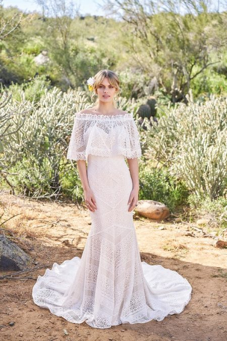6516 Wedding Dress with Cape from the Lillian West Spring/Summer 2018 Bridal Collection