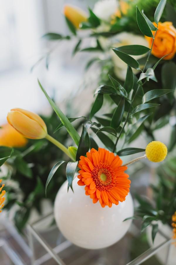 Bright wedding table flowers