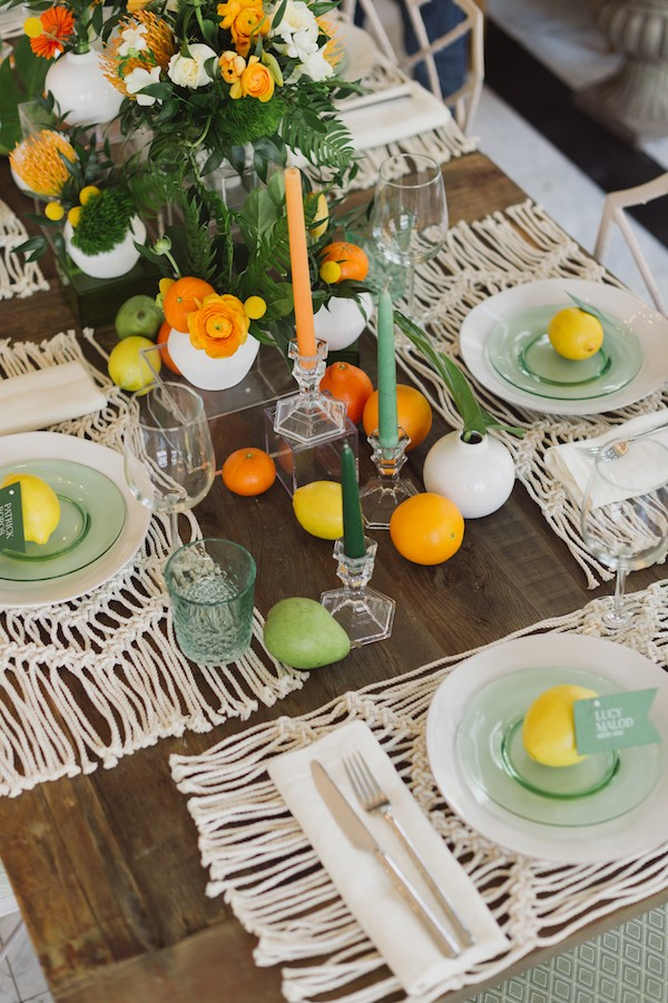Citrus fruits on wedding table