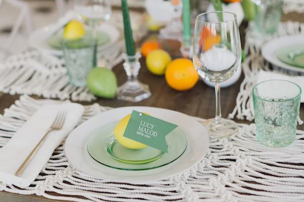 Lemon on plate as wedding place setting