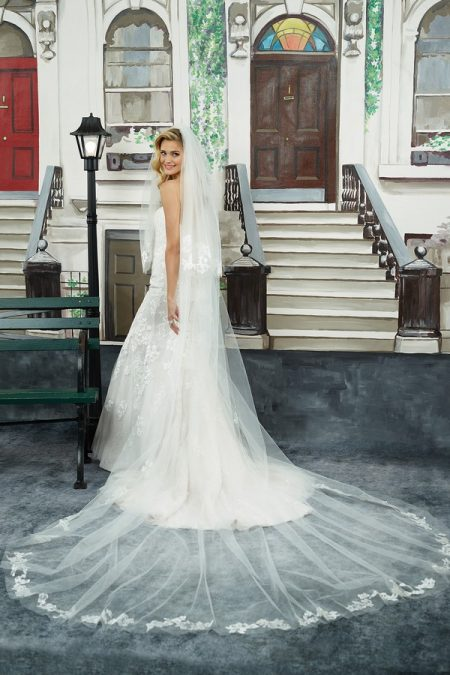 Back of 8950 Wedding Dress with Veil from the Justin Alexander Spring/Summer 2018 Bridal Collection