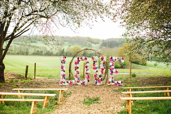 Large LOVE letters made from flowers