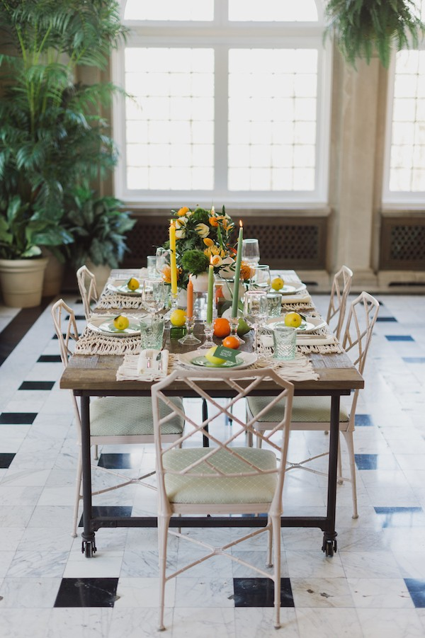 Wedding table with citrus wedding styling