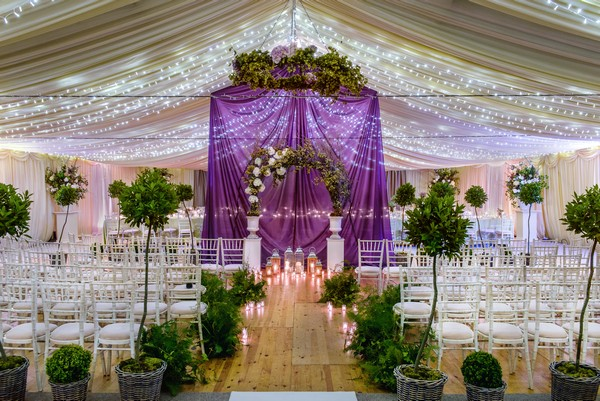 Ultra Violet Wedding Ceremony Backdrop with Greenery