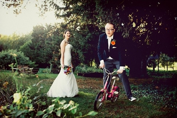 Groom Having Fun on Bicycle