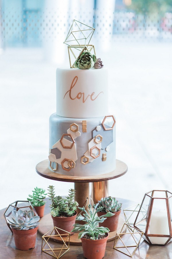 Wedding Cake with Copper Detail