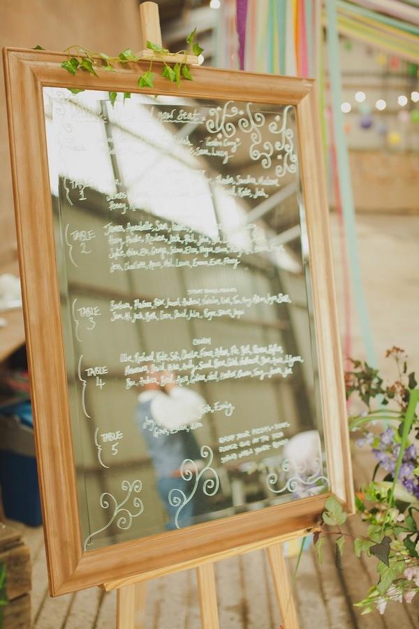 Wedding Table Plan Written on Mirror