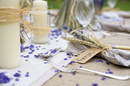 Ultra Violet Wedding Table Styling with Wheat and Lavender Bunch