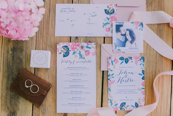 Pink and blue floral wedding stationery