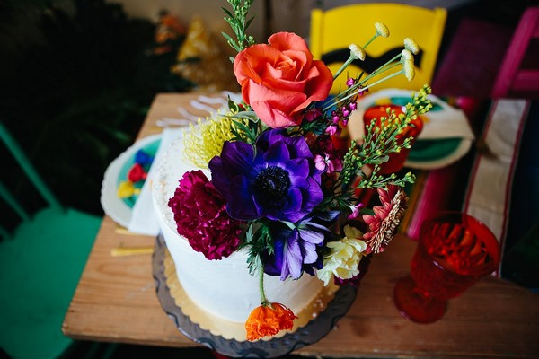 Cake with colourful flowers on top