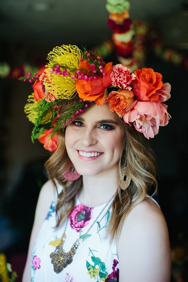 Woman wearing colourful floral crown