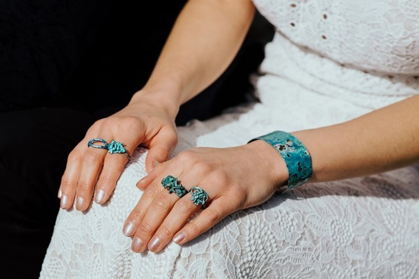 Bride's blue jewellery