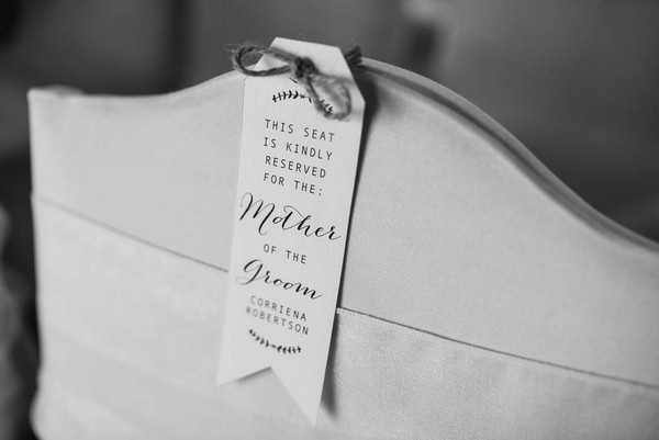 Reserved notice on wedding chair