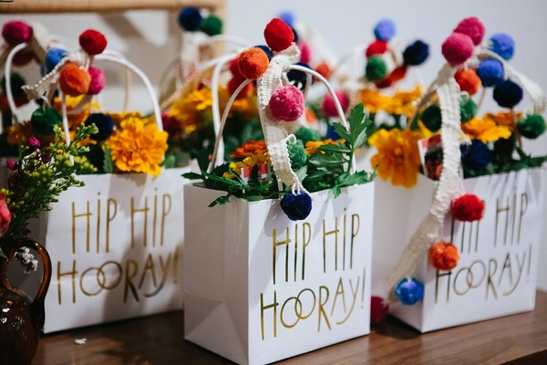 Bags of flowers for hen party