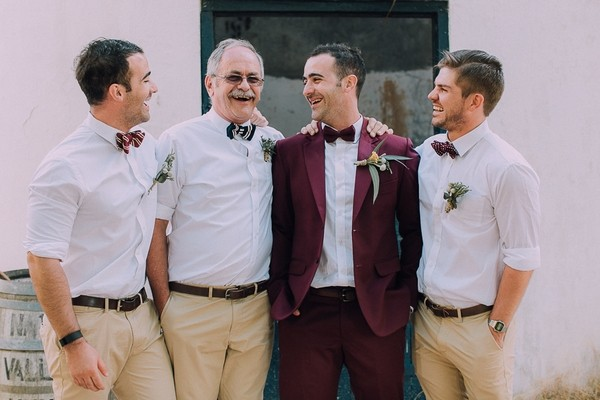 Groomsmen in casual outfits