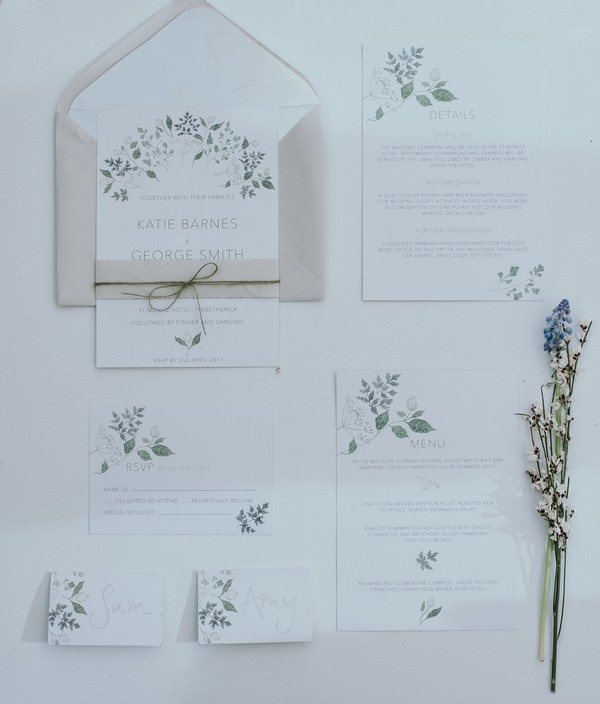 Wedding stationery with floral detail