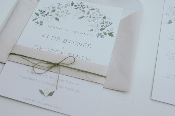 Wedding invitation with floral detail