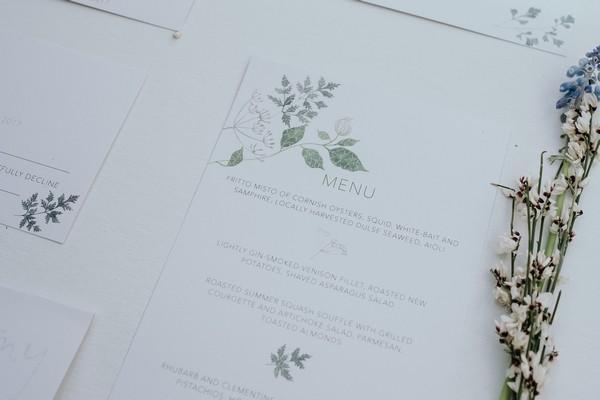 Wedding menu with floral detail
