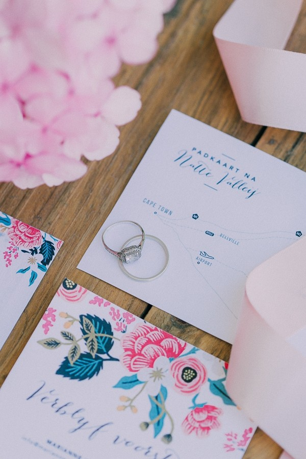 Wedding rings on wedding stationery