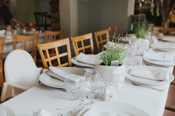 Wedding table with lavender centrepiece