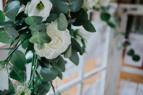 White flower and eucalyptus